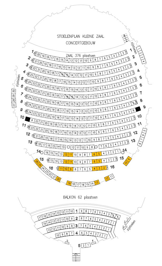 Концертный зал Концертгебау - схема малого зала