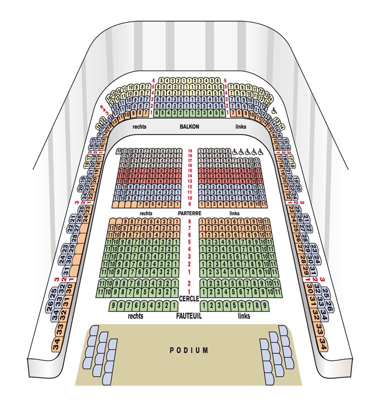 Схемы залов Венского концертного дома - Mozart Hall (Mozart-Saal)