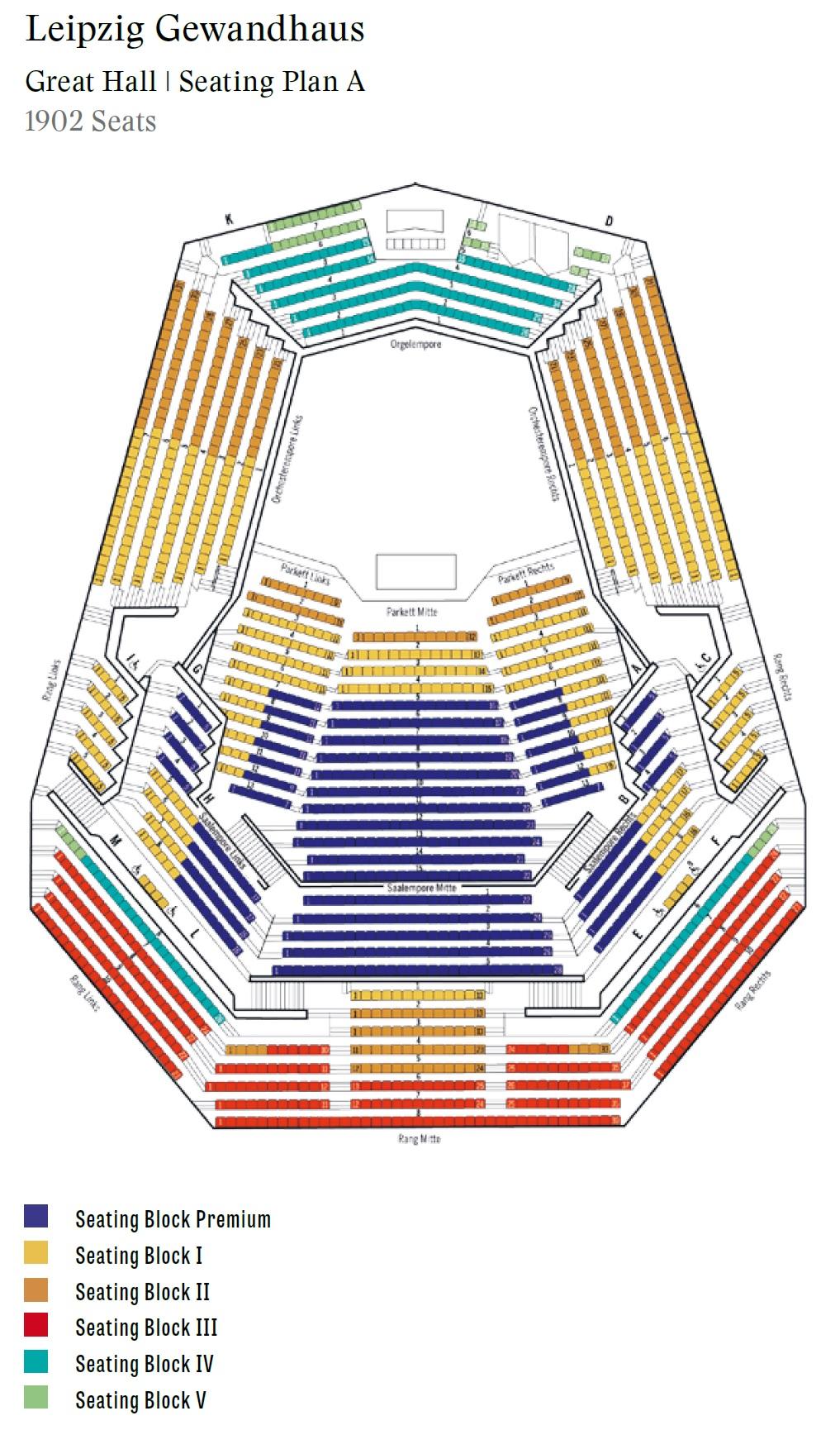 Концертный зал Гевандхауз / Gewandhaus - схема большого зала