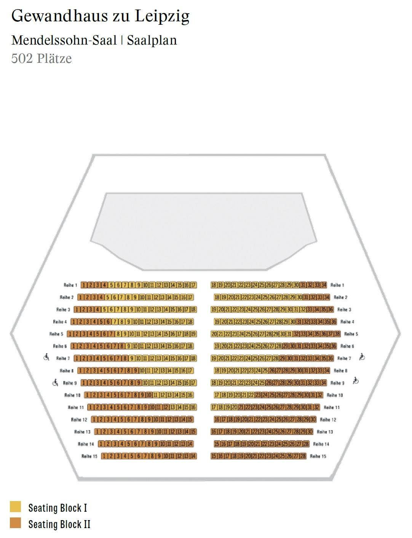 Концертный зал Гевандхауз / Gewandhaus - схема зала Мендельсона