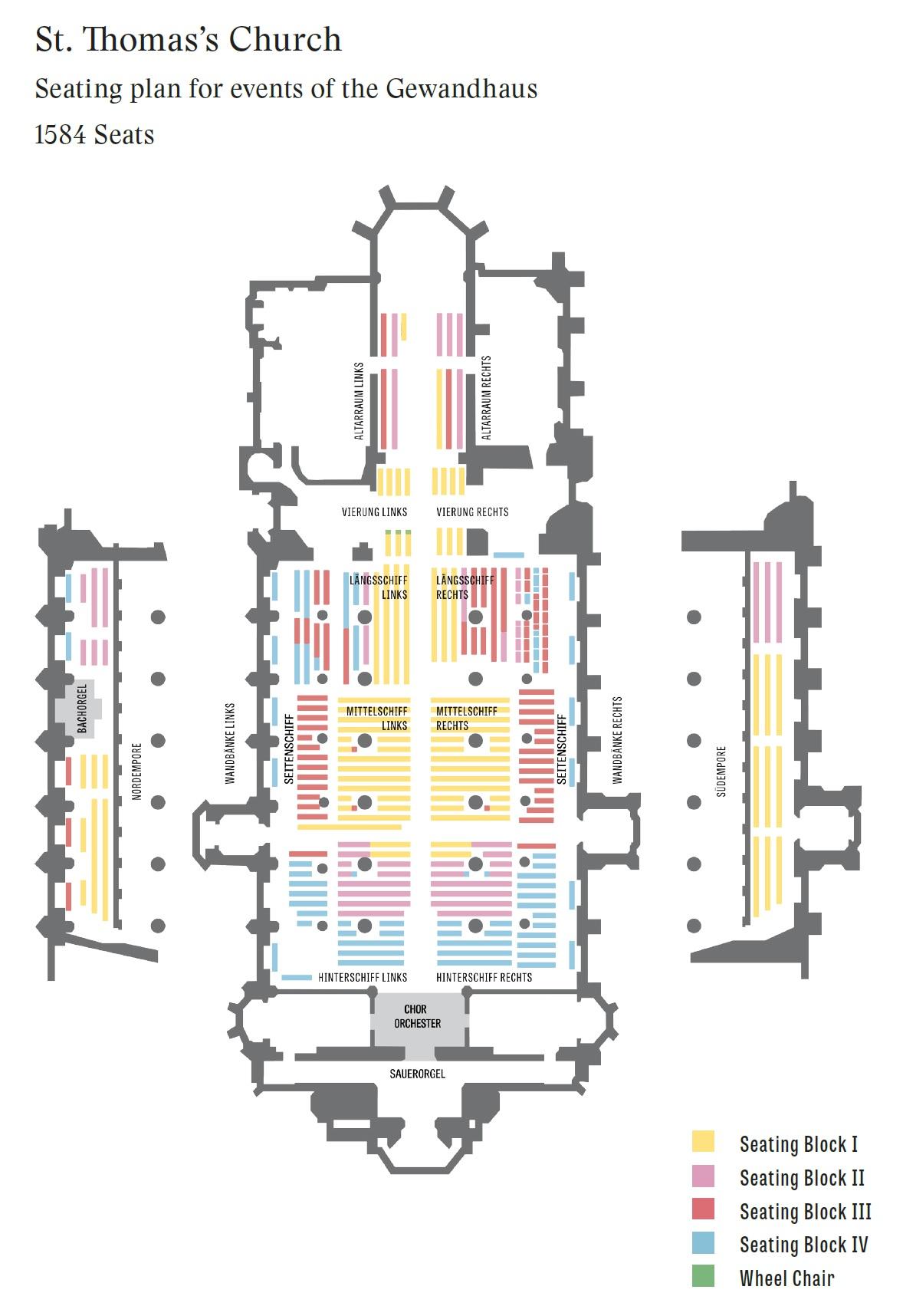 Концертный зал Гевандхауз / Gewandhaus - схема зала в церкви Св. Томаса