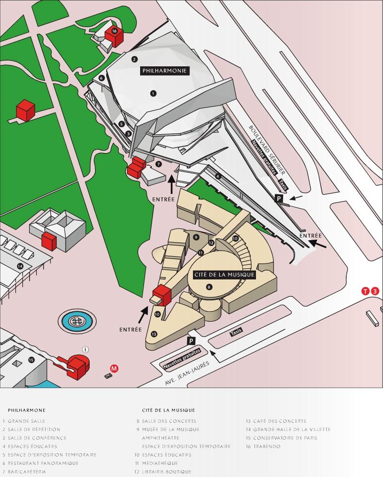Схема расположения зданий и залов в Городе музыки - Париж