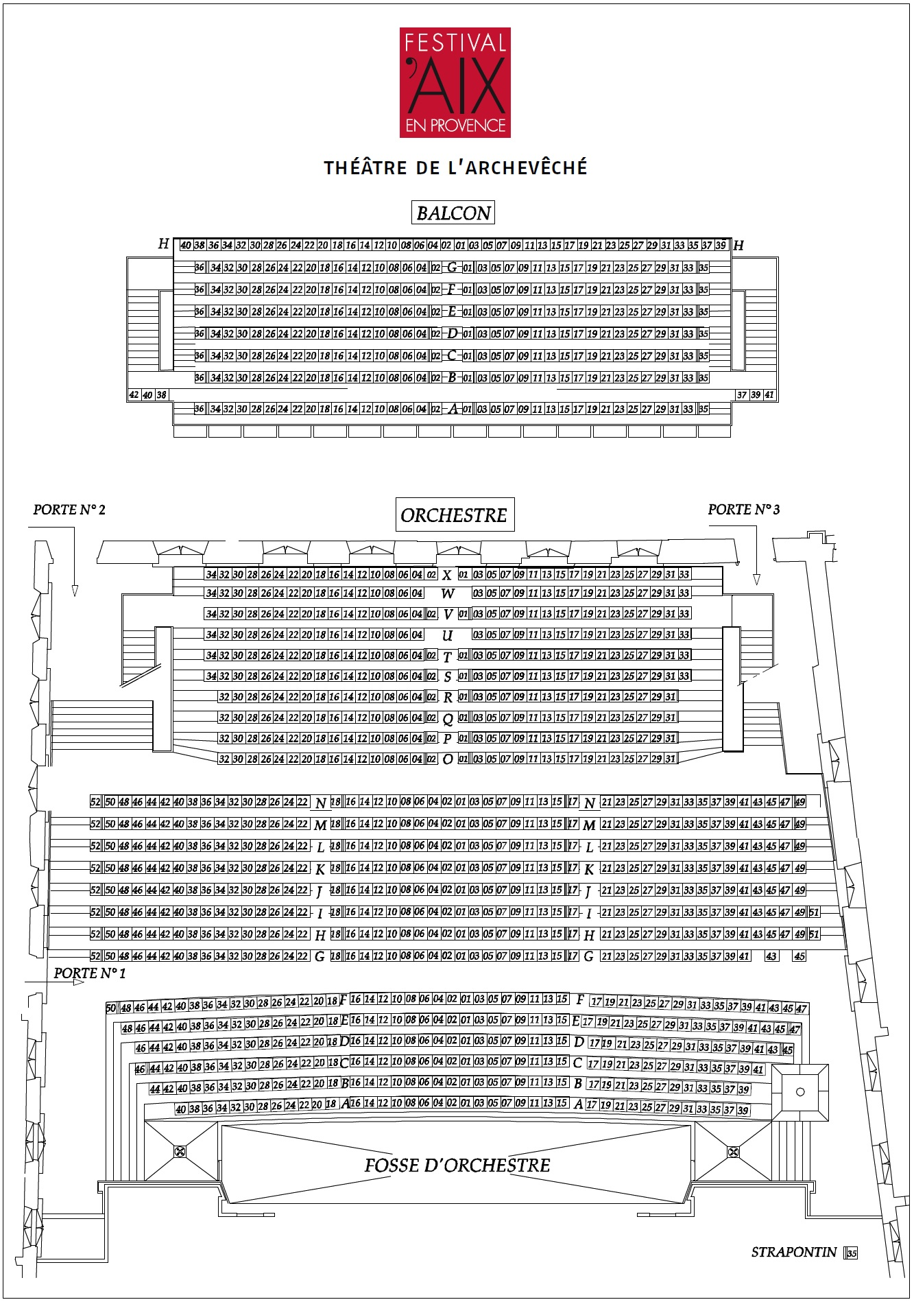 Экс-ан-Прованский оперный фестиваль. Схема THÉÂTRE DE L'ARCHEVÊCHÉ