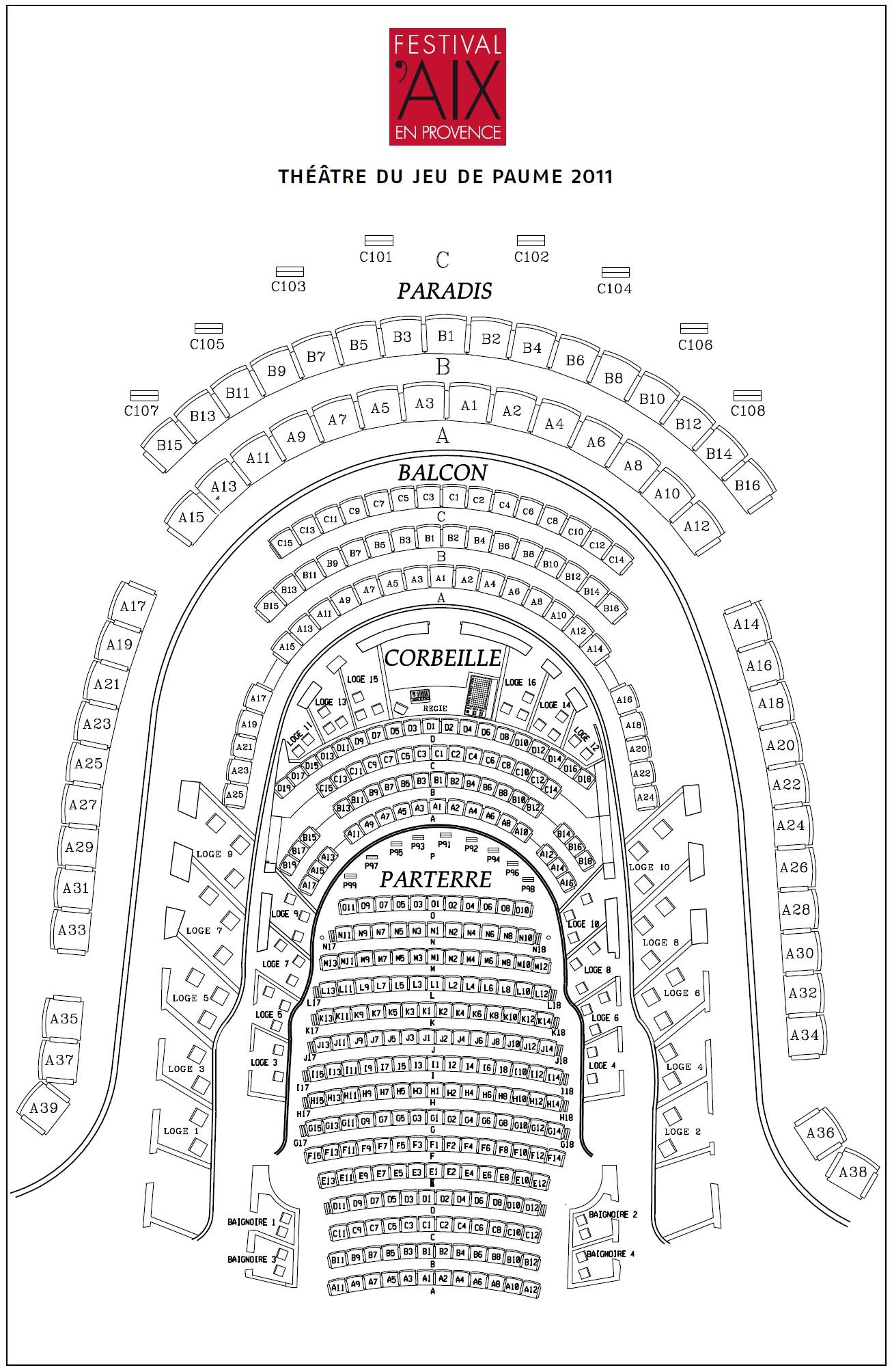 Экс-ан-Прованский оперный фестиваль. Схема THÉÂTRE DU JEU DE PAUME