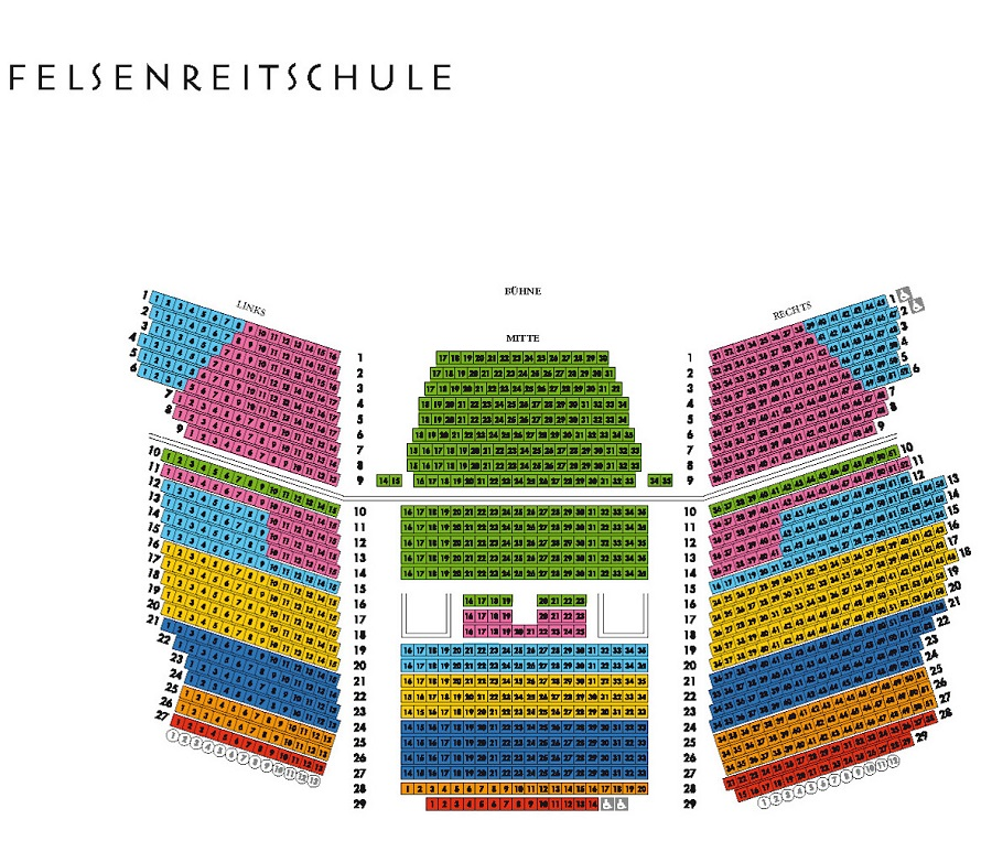 Зальцбургский Летний фестиваль. Felsenreitschule - схема зала