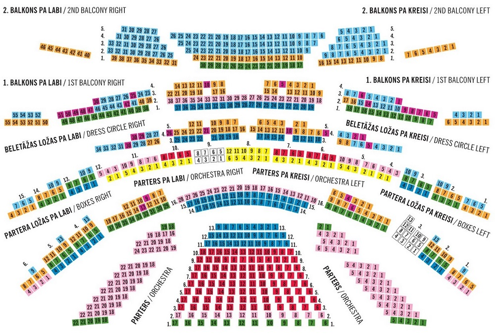 Схема зала Латвийской Национальной оперы