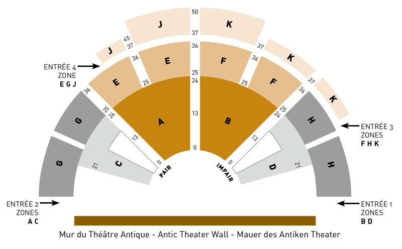 Схема зала оперного фестиваля в Оранже