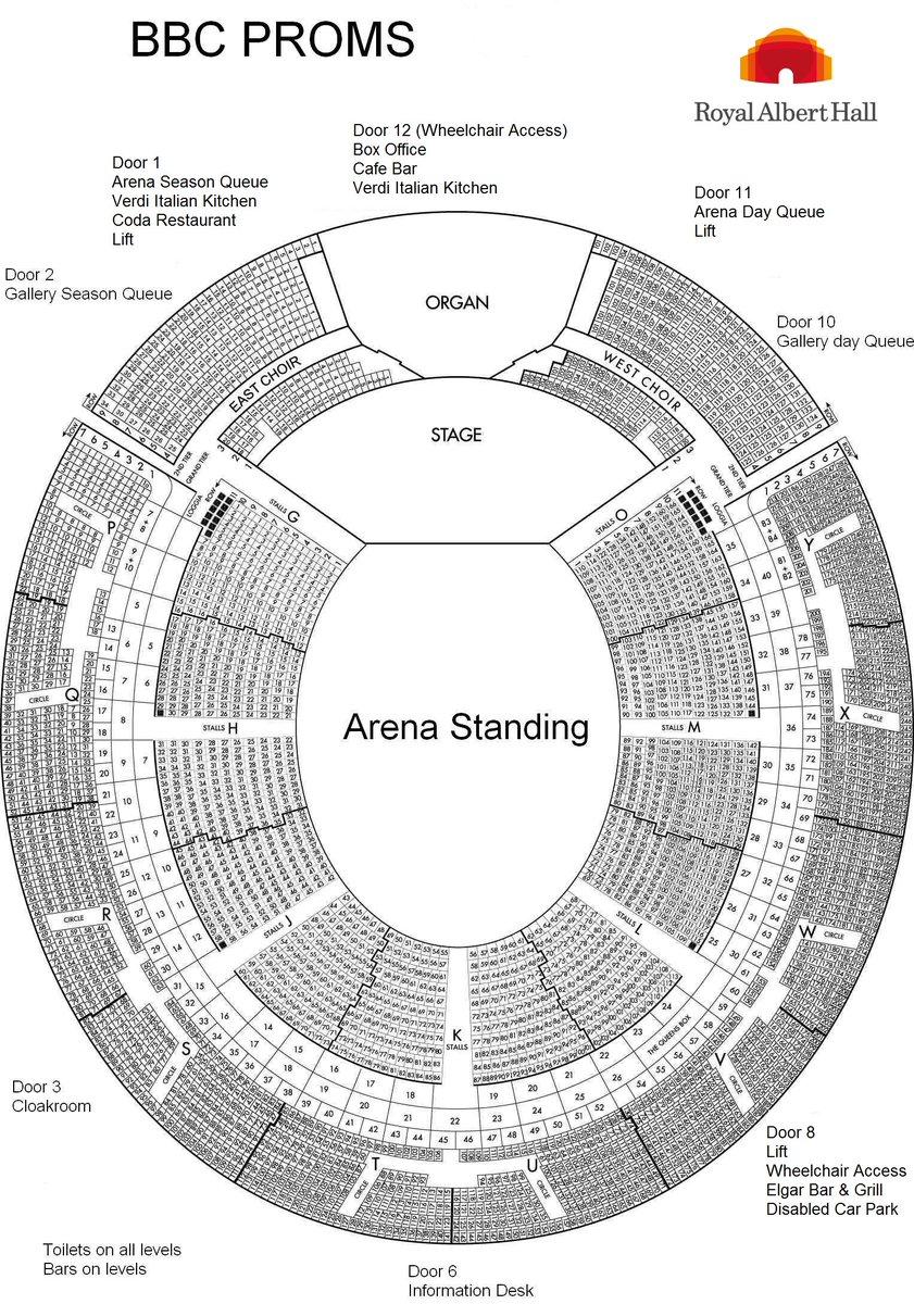 Схемы залов фестиваля Би-Би-Си Промс - Royal Albert Hall