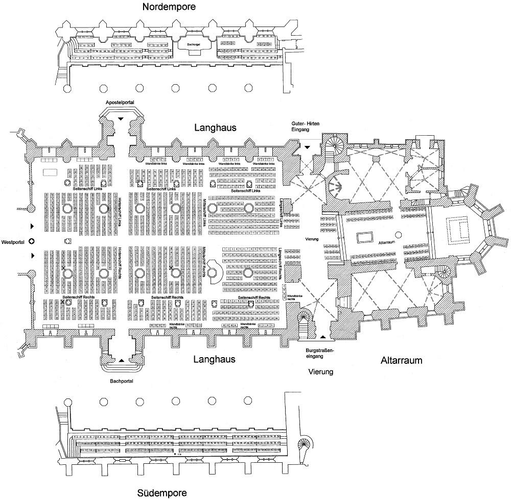 Схемы залов фестиваля Баха в Лейпциге - Церковь Святого Фомы