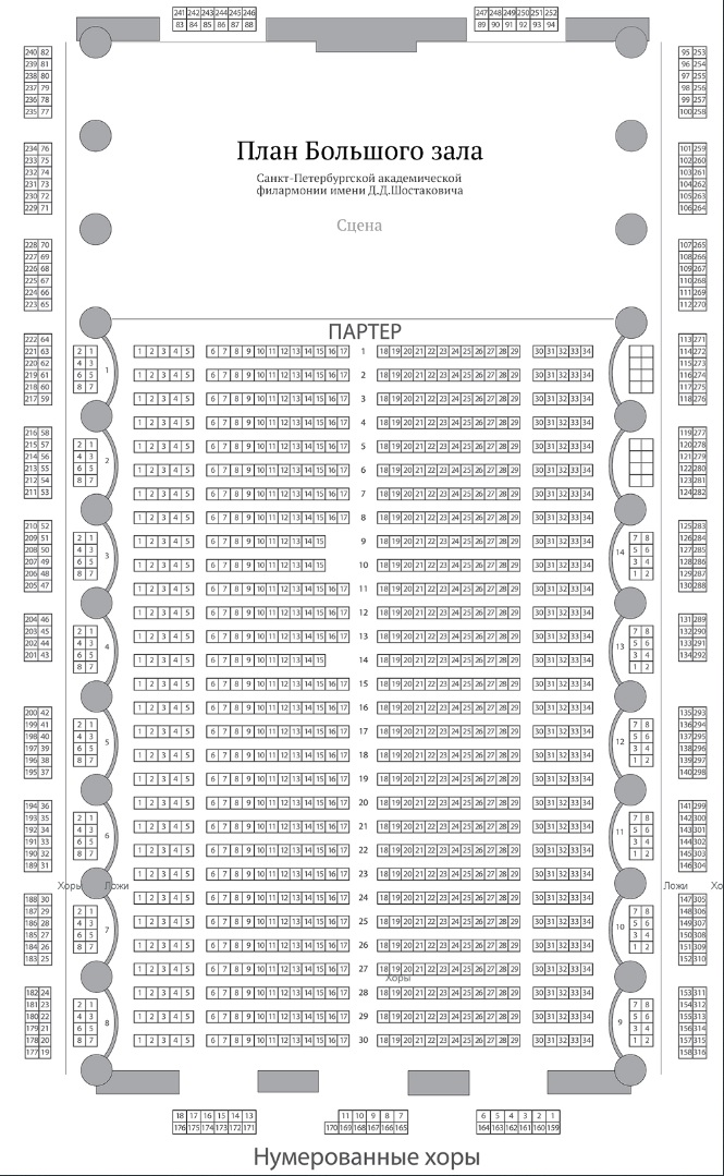 Санкт-Петербургская академическая филармония имени Д. Д. Шостаковича - схема большого зала