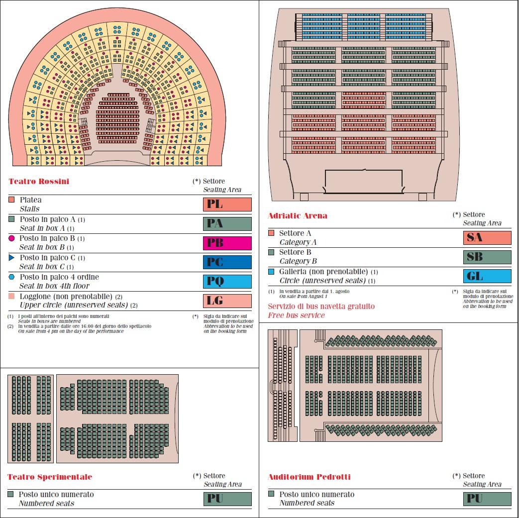 Схема залов оперного фестиваля Россини в Пезаро