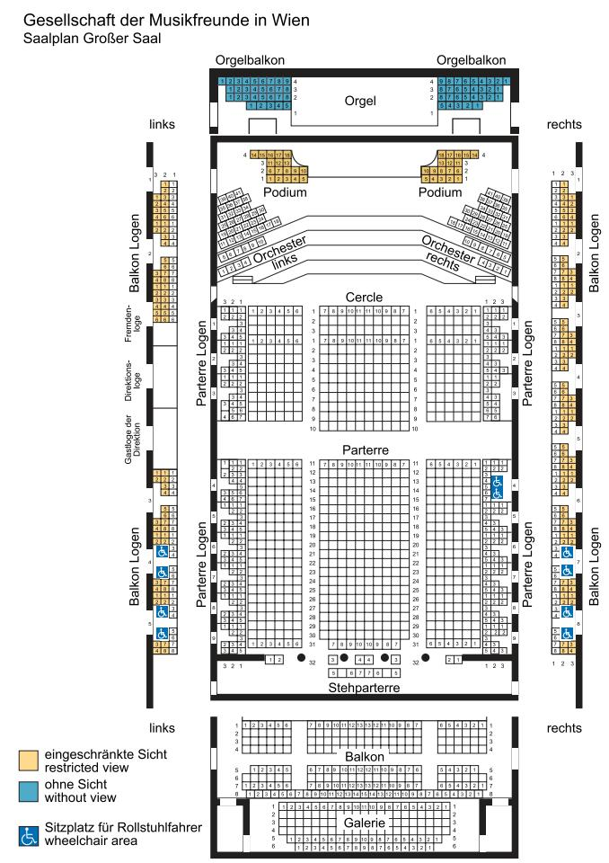Большой зал Венской филармонии - схема