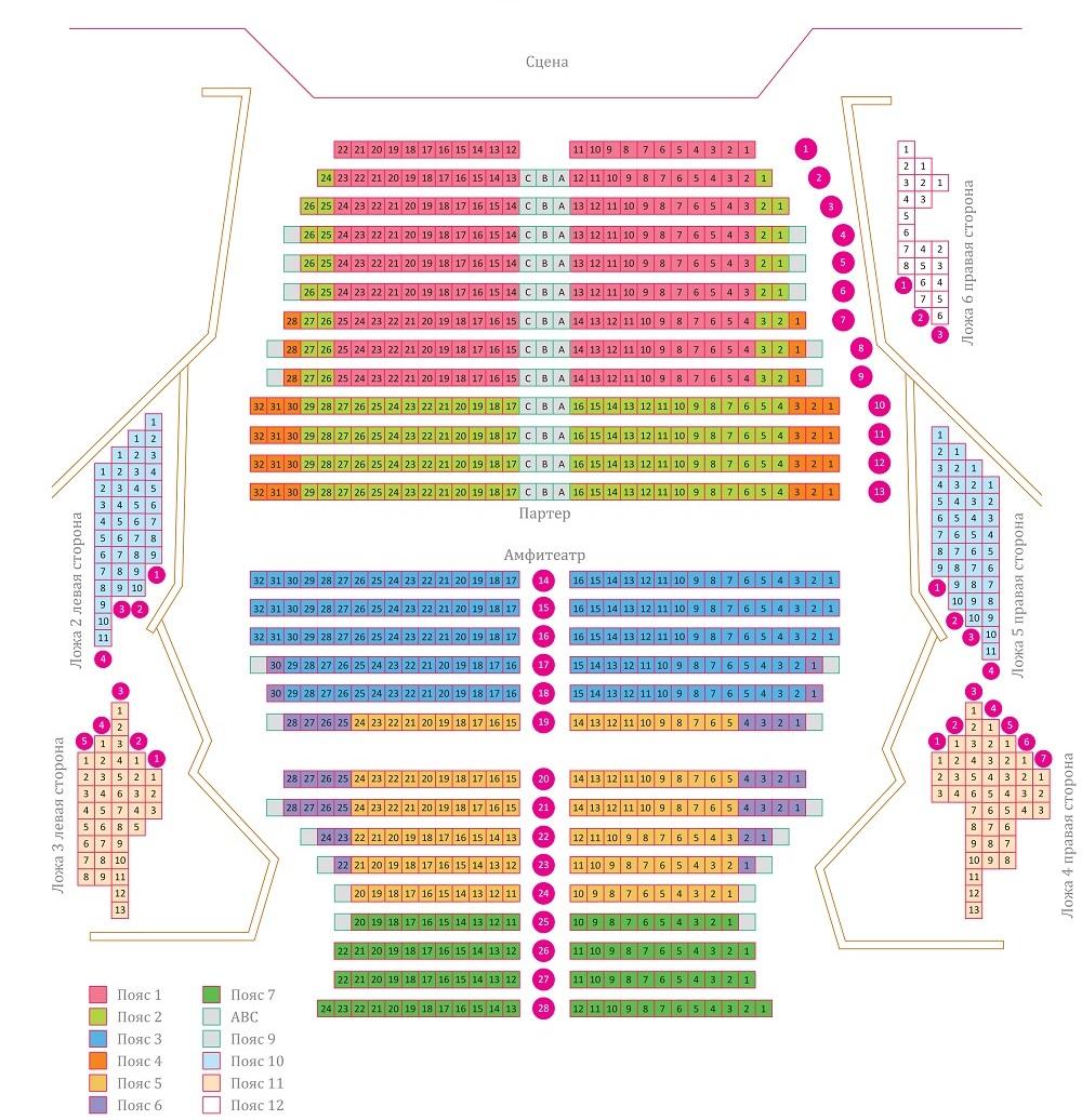Московская государственная академическая филармония - «Филармония-2» Концертный зал имени С. В. Рахманинова - схема зала