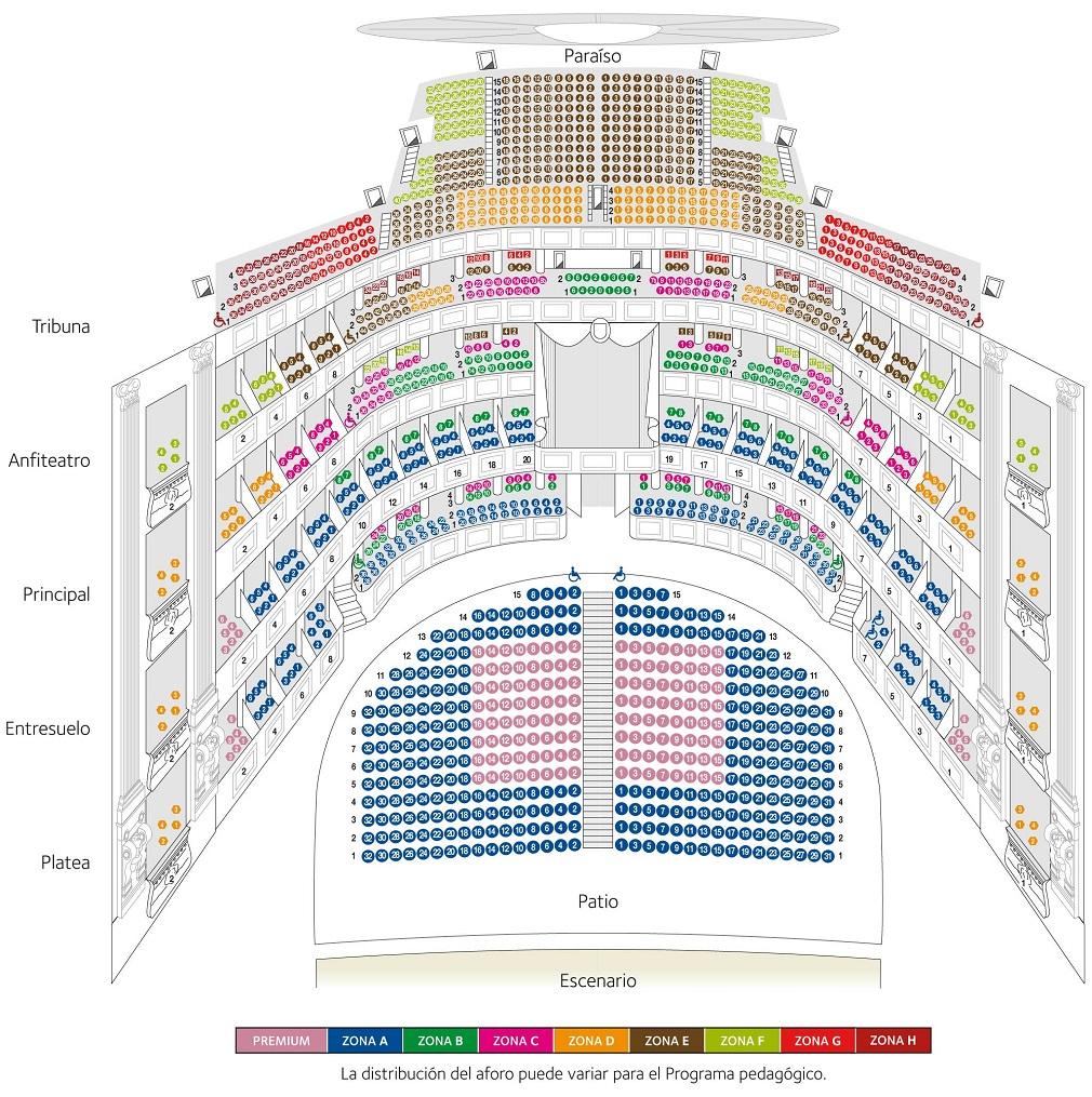 Схема зала Королевского театра в Мадриде