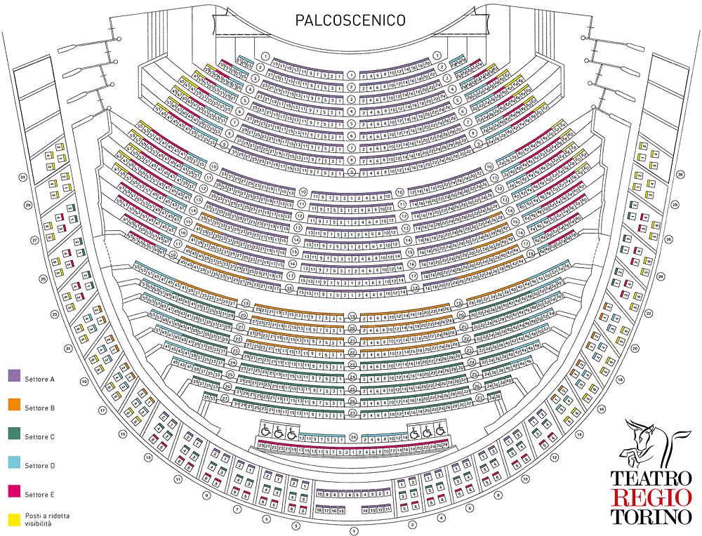 Схема зала Королевского театра Реджио в Турине