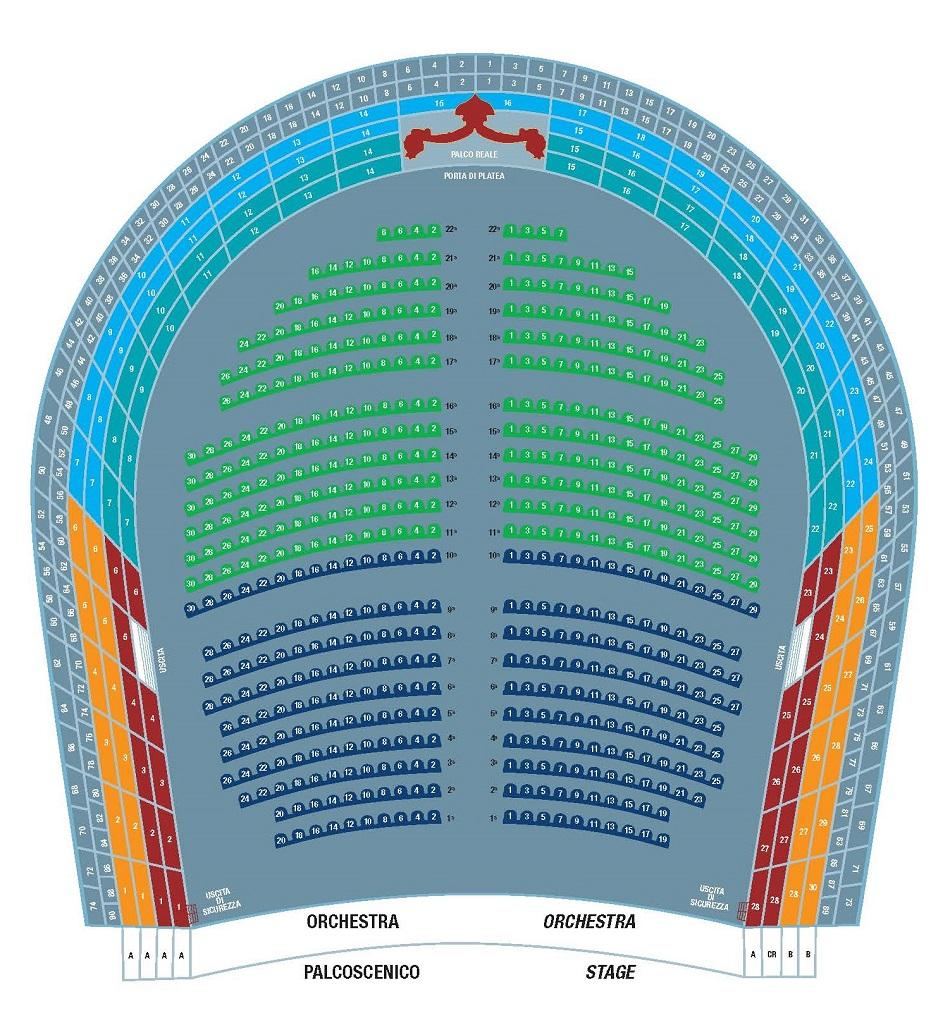 Схема зала Театра Сан-Карло.