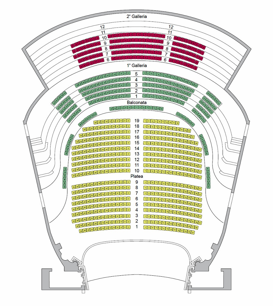 Схема зала театра Филармонико