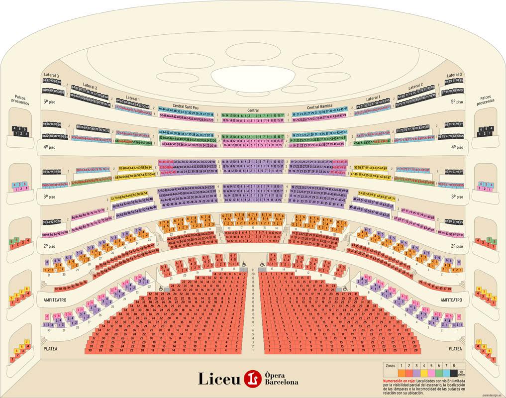 Схема зала Гран Театро дель Лисео