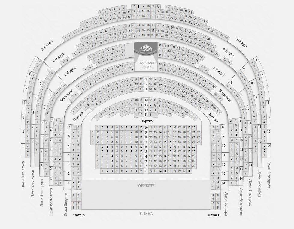 Схема зала Михайловского театра