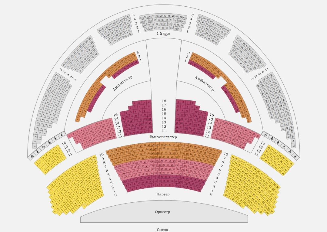 Схема зала Новосибирского театра оперы и балета
