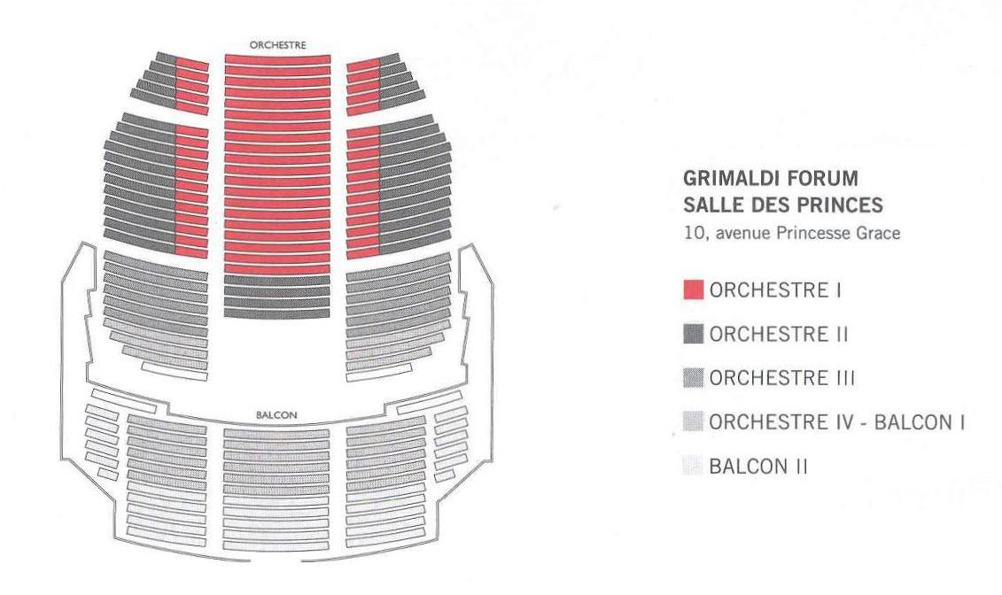 Схемы залов Оперы Монте-Карло - Форум Гримальди