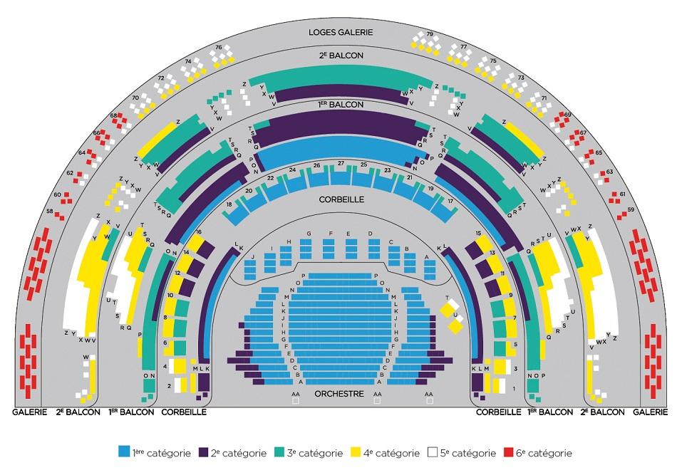 Схема зала Театра Елисейских Полей