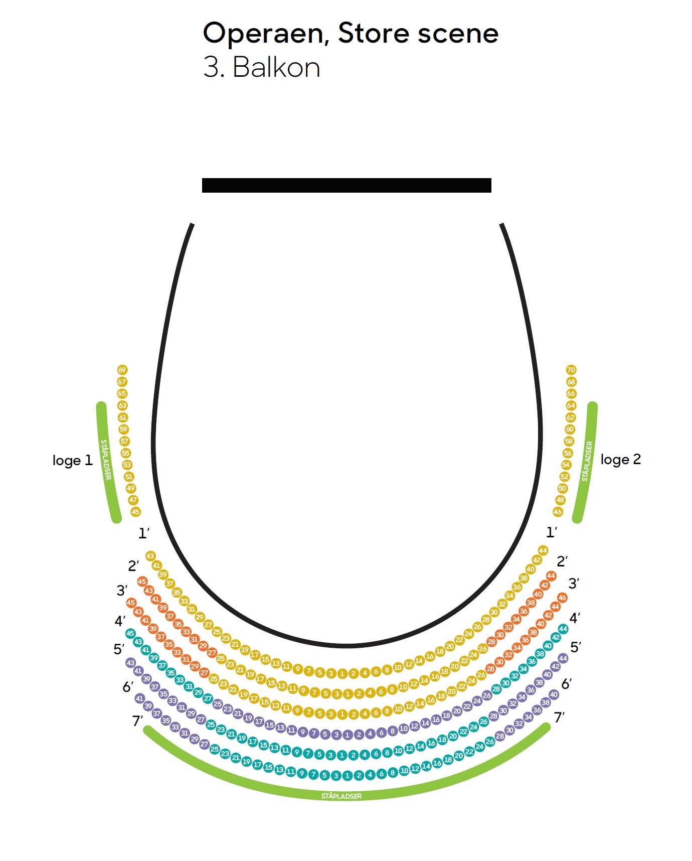 Схема зала Оперного театра Копенгагена - балкон, Основная сцена