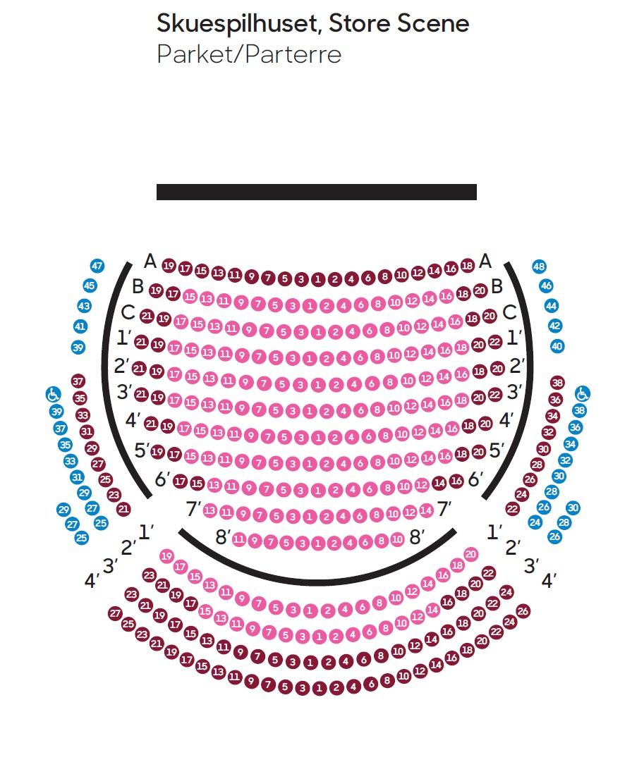 Схема зала Оперного театра Копенгагена - партер, старая сцена