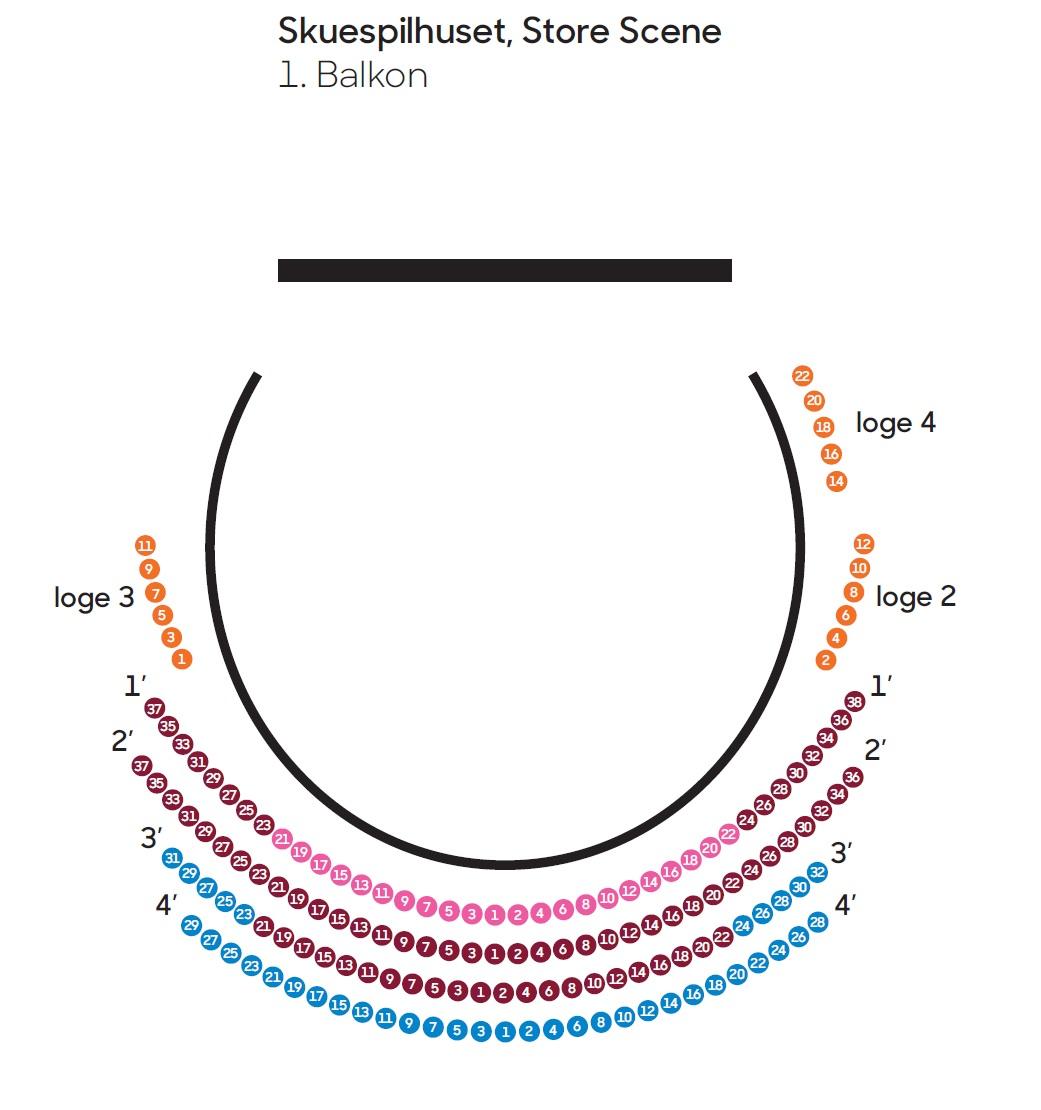 Схема зала Оперного театра Копенгагена - балкон, старая сцена