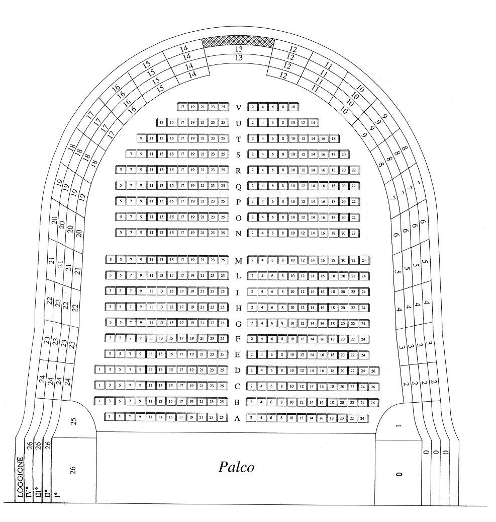 Схема зала Театро Комунале в Болонье