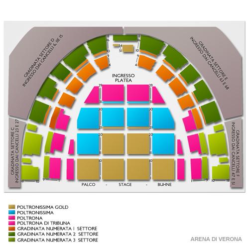 Схема зала Арена ди Верона