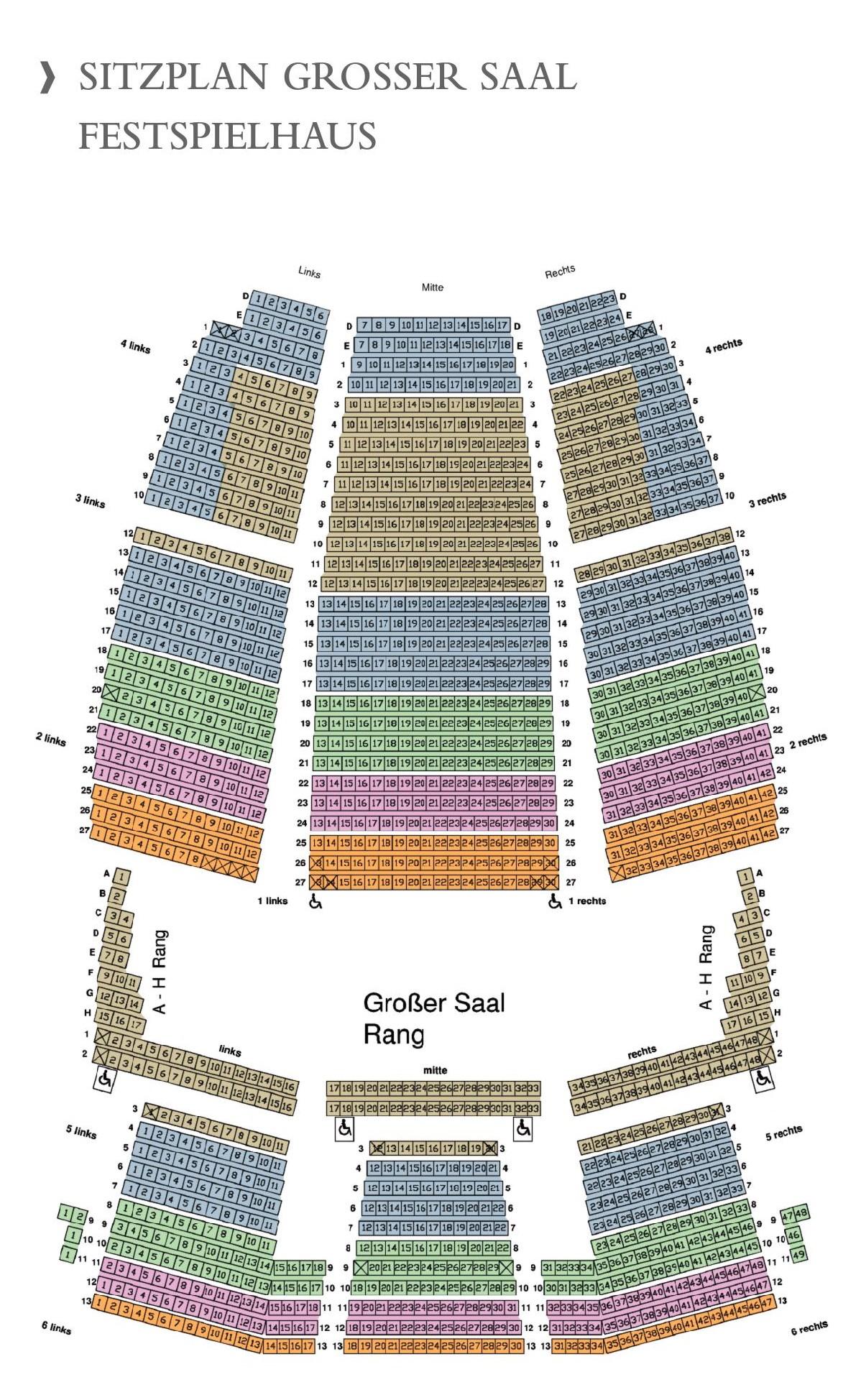 Схема зала Брегенцского Фестиваля. Фестивальный дом (Festspielhaus)