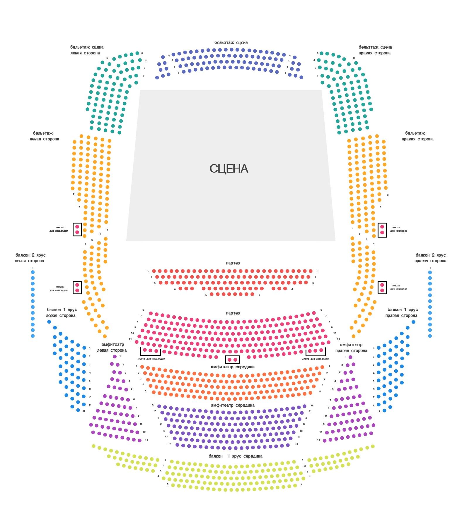 Схема концертного зала юбилейный