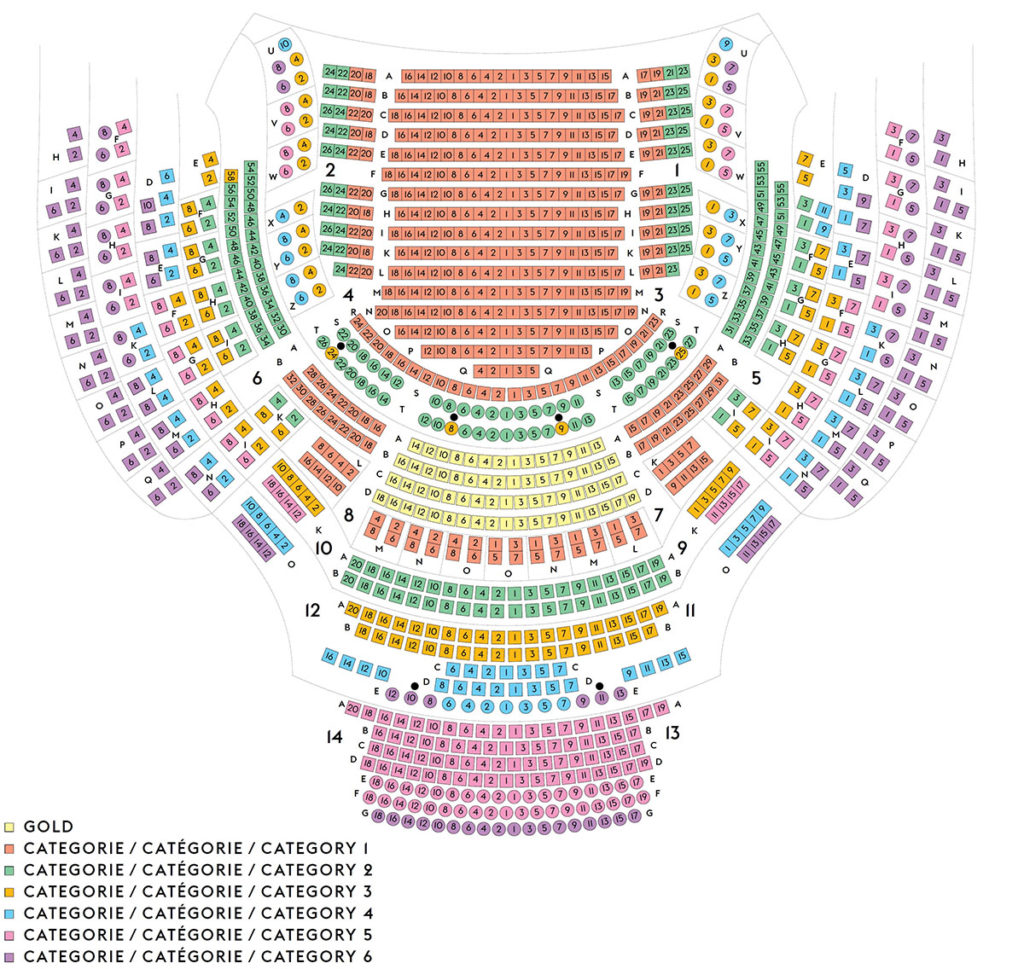 Схема зала Королевского театра Ла Монне / Théâtre Royal de la Monnaie