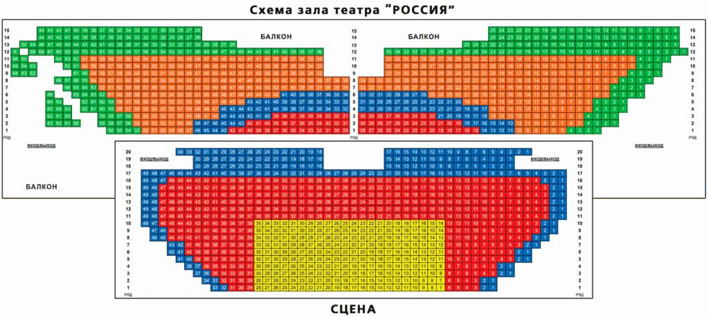 Схема зала кинотеатра Россия