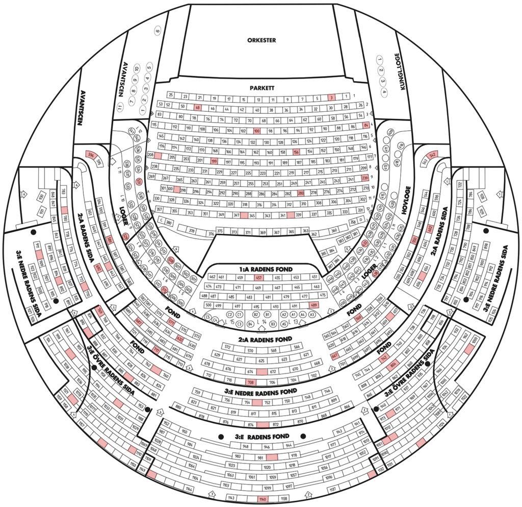 Схема зала Королевской оперы Швеции