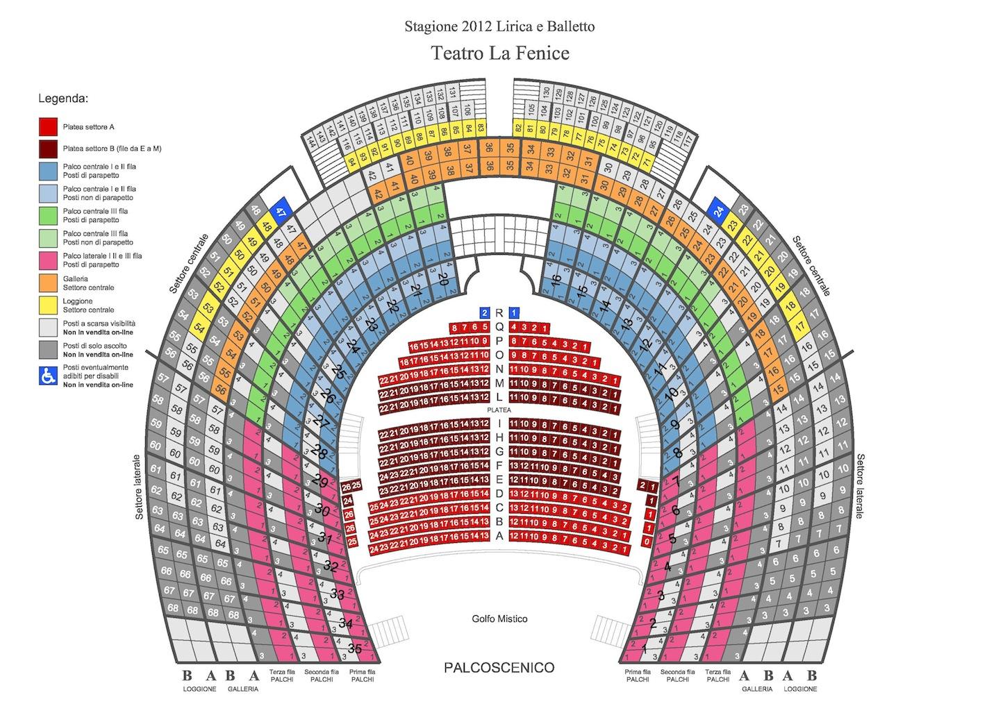 Схема зала театра Ла Фениче / La Fenice